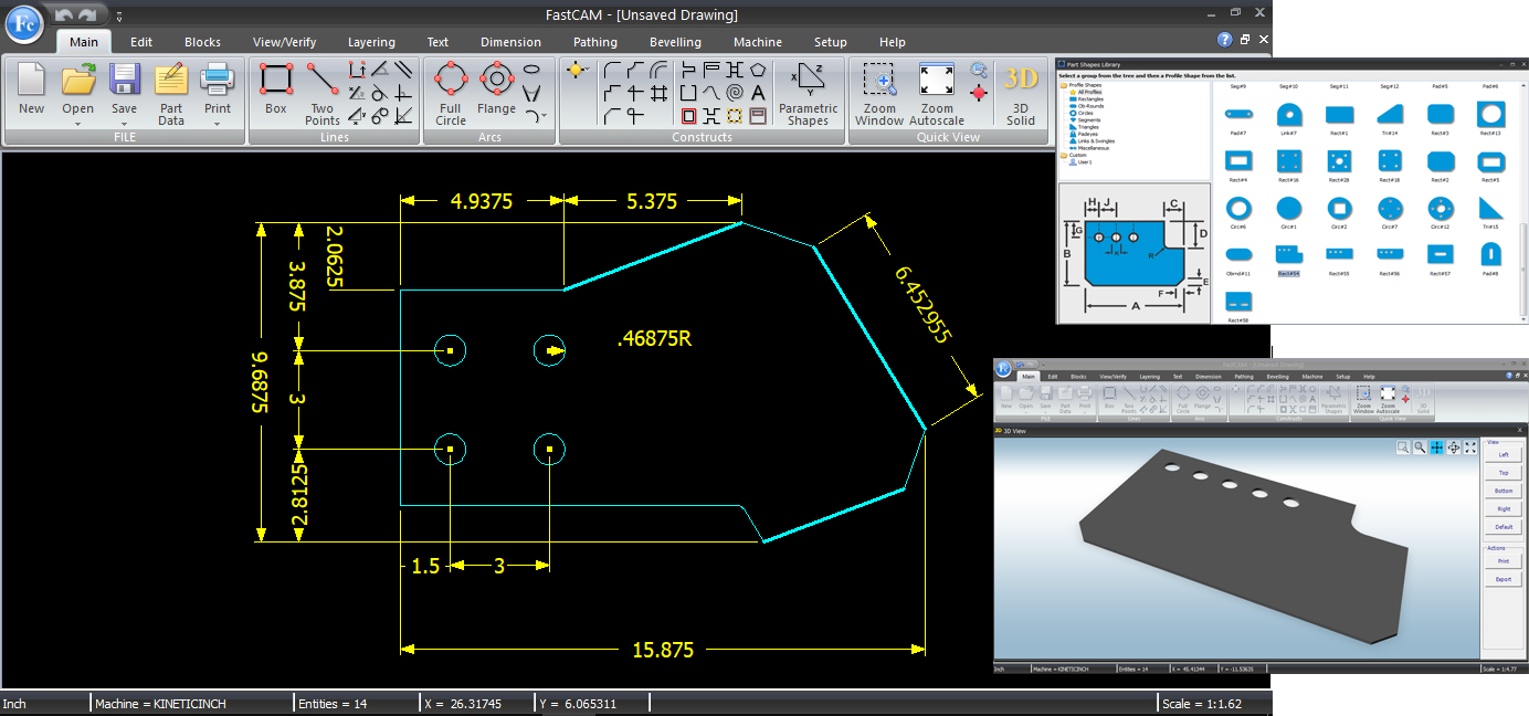 New Ribbon Interface and simplified CAD toolbar